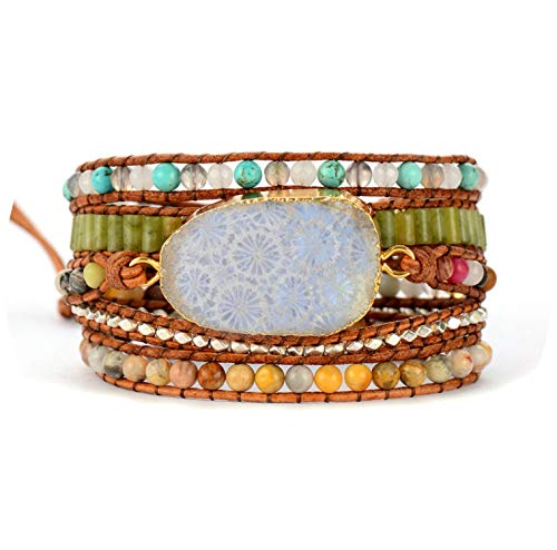 (Glad You Came Vintage Leather Bracelets Natural Stones Chrysanthemum Stones Charm 5 Strands Wrap Bracelets Boho Braceletsping)