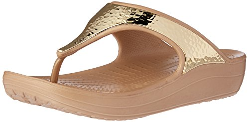 Embellished Metallic (Crocs Women's Sloane Embellished Flip Flop, Gold/Metallic, 8 M US)