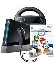 Wii Console with Mario Kart Wii Bundle - Black (Renewed)
