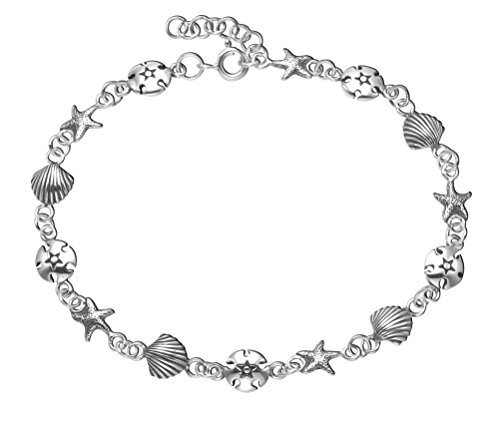 Wild Things Sterling Silver Scallop Shell, Starfish & Sand Dollar Anklet, - Sterling Scallop Ring Silver Shell