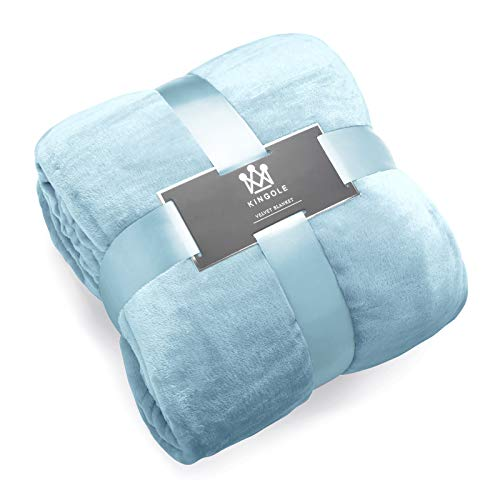 Kingole Flannel Fleece Microfiber Throw Blanket, Luxury Light Blue Queen Size Lightweight Cozy Couch Bed Super Soft and Warm Plush Solid Color 350GSM (90