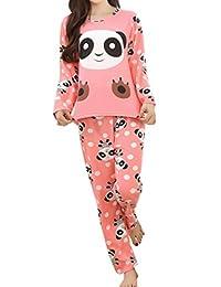 Lasher Big Girls' Panda Pattern Cute Long Sleeve Pajamas Nightwear Sleep Sets