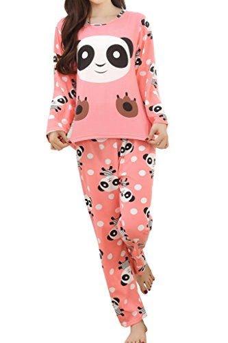 LAsher Big Girls' Panda Pattern Cute Long Sleeve Pajamas Nightwear Sleep Sets Red XL ()