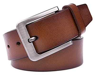 Mens Genuine Leather Belts, 100% Pure Cow Leather, Handmade, 40MM & 35MM Width Strap - Design for Dress & Casual