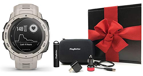 Garmin Instinct (Tundra) Gift Box Bundle | +HD Screen Protectors, PlayBetter Portable Charger, Car/Wall Adapters & Protective Case | Rugged, HR, TrackBack | Ultimate Outdoor Watch