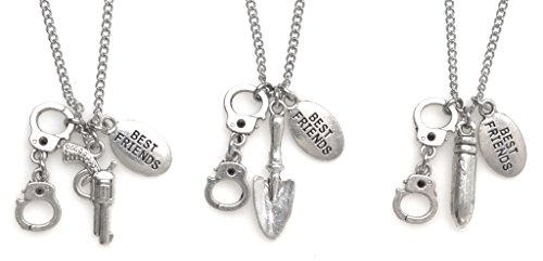 """3 Necklace Set: 19.7"""" Stainless Steel Curb Chain Partners in Crime Necklaces with Gun Bullet Shovel Handcuffs Best Friend (PIC Set) 2MN 62B"""