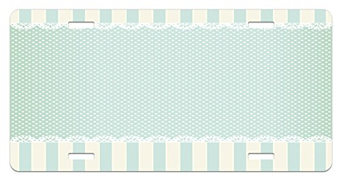 Shabby Chic License Plate by Ambesonne, Traditional Old Fashioned Vertical Stripes Ornaments and Dots, High Gloss Aluminum Novelty Plate, 5.88 L X 11.88 W Inches, Almond Green Cream White