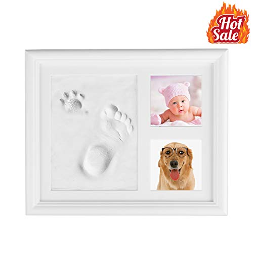 Kithouse Baby Handprint Footprint Kit Clay Picture Frame Baby Photo Album - Personalized Baby Gifts Registry For Baby Shower Gifts Newborn Boys Girls Keepsake Box For Baby Room Nursery Wall Decor