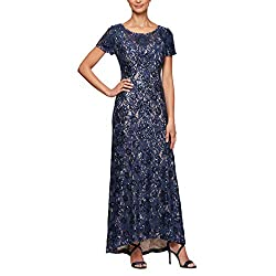 Long A-line Dress with Short Sleeves Sequin Detail