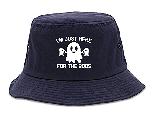 Boo Bucket - Kings Of NY Im Just Here for The Boos Halloween Mens Bucket Hat Navy Blue