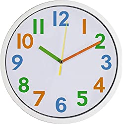Colorful Kids Wall Clock Silen Non Ticking Quality Quartz Battery Operated Wall Clocks, Easy to Read ,Large Decorative / Bedroom/School White Frame (12' Colorful)