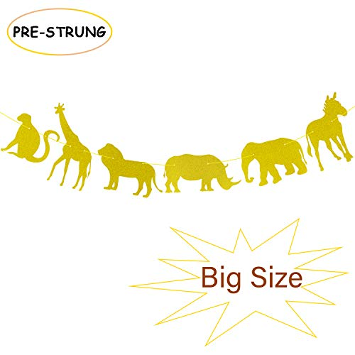Gold Glitter Jungle Safari Animal Banner Zoo Themed Baby Shower Kids Birthday Party Supplies Decorations (Zebra Gold Safari)
