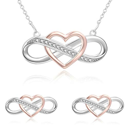 Heart Infinity Necklace Two Tone Interlocking Pendant with Matching Earrings & Pretty Red Gift ()
