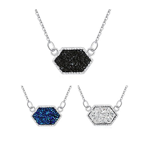 MissNity Silver Colorful Faux Druzy Jewelry Set Drusy Necklace Silver Plated Hexagon Pendant for Best Friend (Silver+Blue&Black&White)