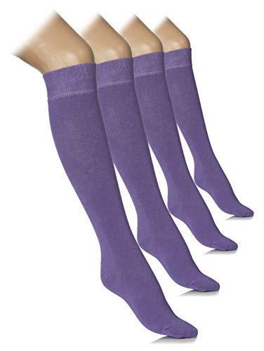 Women Knee High Dress Socks Comfort Seam (Aster Purple, Shoe size: 5-8) -