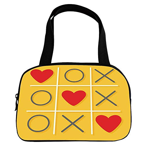 Multiple Picture Printing Small Handbag Pink,Love Decor,Tic Tac Toe Game with Xoxo Flat Design Let Me Kiss You Funny Playful Romantic Illustration,Yellow Red,for Girls,Comfortable Design.6.3