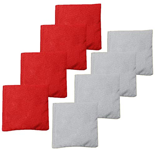 Premium Weather Resistant Duckcloth Cornhole Bags - Set of 8 Bean Bags for Corn Hole Game - Regulation Size & Weight - 4 Red & 4 Grey (Beam Bags)