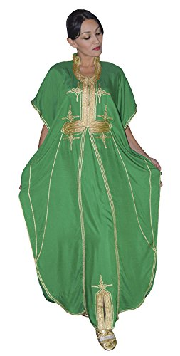 Moroccan Caftans Women Malakia Hand Made with Gold Embroidery Long Length One Size ()