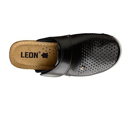 Donna Pelle Leon 1001 Scarpe Zoccoli Sabot Pantofole nero xqYfXSwf
