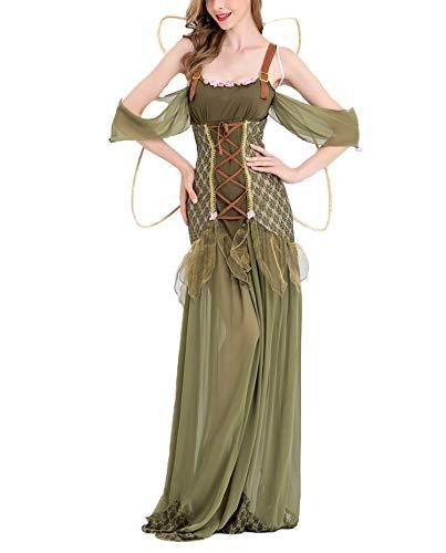 Asskyus Women Halloween Dress Green elf Party Dress Cosplay (XL, Green) -