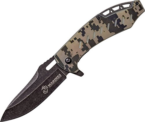 Camo Mtech (U.S. Marines by MTech USA M-A1043C Spring Assist Folding Knife, Black Stonewashed Blade, Desert Digital Camo Handle, 4.75-Inch Closed)