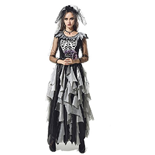 Girls Zombie Bride Halloween Costume (Halloween Costumes for Women - Plus Size Zombie Bride Costume Dress for Girls)
