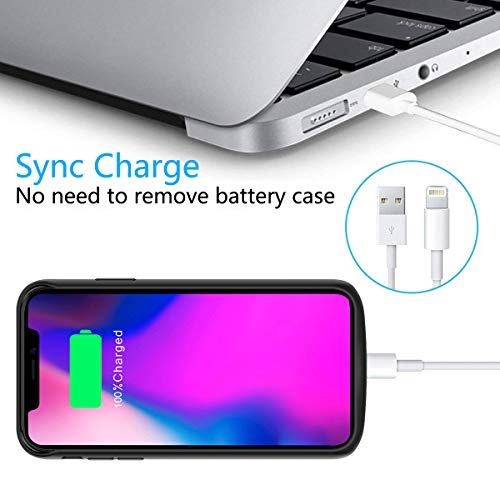 Compatible iPhone Xs Max Battery Case, 6000mAh Extended Battery Rechargeable Backup Fast Charging Case, Impact Resistant Power Bank Juice Full Edge Protection for iPhone Xs Max (Black) by BasicStock (Image #8)