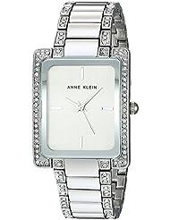 Anne Klein Womens AK/2839SVSV Swarovski Crystal Accented Silver-Tone Bracelet Watch