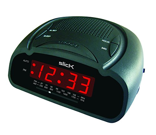 slick cr212bk am fm digital alarm clock radio home garden decor clocks clocks radios. Black Bedroom Furniture Sets. Home Design Ideas