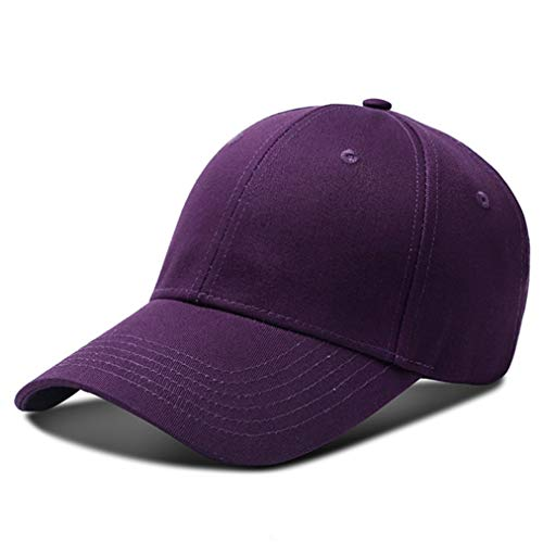 (Purple Cotton Mens Plain Baseball Cap Caps UV Summer Cool Classic 6 Panel Youth Dads Dad Structured Hat Autumn Fitted Hats for Women Men Kids Boys Girls Ladies Solid Color Blank Golf Metal Buckle L)