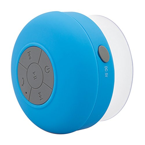 NeeGo Portable Waterproof Shower Speaker Bluetooth 3.0 with Built-In Mic Powerful for Pool Boat Beach Hiking Camping Blue