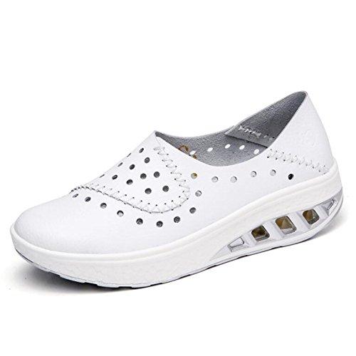 Zapatos de Mujer Zapatos de Guisantes 2018 Verano Zapatos Casuales de Cuero Zapatos de Marea Resistentes al Desgaste para Mujeres Zapatos con Orificios Zapatos (Color : Blanco, tamaño : 38)