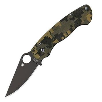Spyderco C81GPCMOBK ParaMilitary 2 G-10 Plain Edge Knife Camo Black