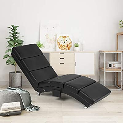 AECOJOY Massage Chaise Lounge Couch Black Modern Indoor Chaise Lounge Chair Living Room Chaise Lounger with Vibration Heat Fuction