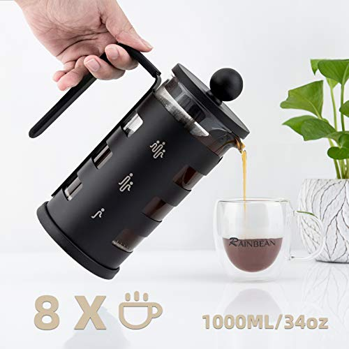 French Press Coffee Tea Maker for 1000ml/34oz with 4 Level Filtration System Borosilicate Glass Durable Stainless Steel Thickened Heat Resistant