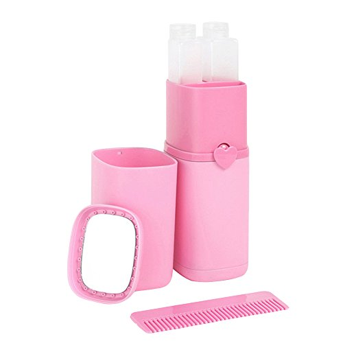 millet16zjh Outdoor Space Saver 5Pcs Portable Gargle Cup Shampoo Sub-Bottle Comb Make-up Mirror Travel Wash Kit by millet16zjh