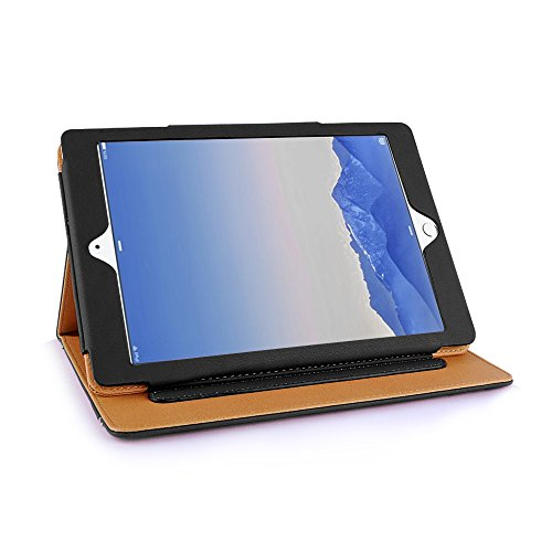 Ipad Air 2 Case, Apple Ipad Air 2 Premium Tan Leather Wallet Smart Flip Case Cover with Magnetic Sleep Wake Sensor (Black