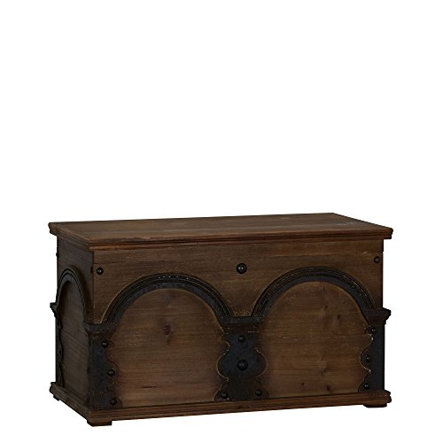 Household Essentials Wooden Arch Trunk Storage Chest, Large, Brown