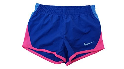 NIKE Girls Dri-Fit Tempo Running Shorts (3T, Deep Night (603)/Photo Blue/Pink/Reflective Silver)