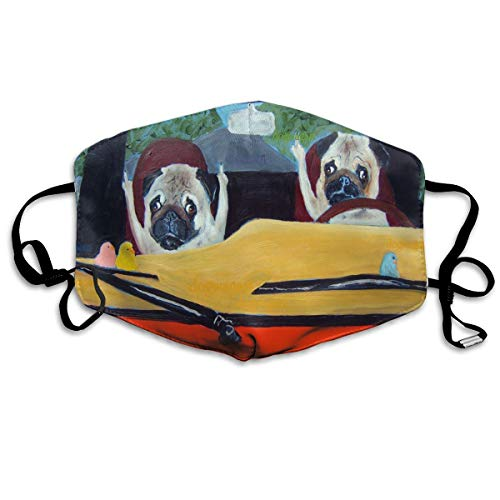 Face Mask Pug Print Of Oil Painting Road Special Cycling Half Face Earloop Mouth Mask For Women -
