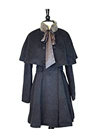 RYU Whats up Sherlock Coat with Removable Capelet and Faux Fur (Small, Charcoal)
