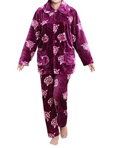 De Moda Púrpura Night Ladies Manga Estampado Top Rosa Pijama Conjunto Lujo Warming Warm Franela Pantalones Y Pink Suave Comfort Larga fqUwI7F