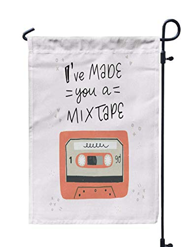 Welcome Garden Flag,Shorping 12x18Inch Cartoon Style Old School Cassette Tape Made You Handwritten Phrase Great Element Sticker Patch Poster for Holiday and Seasonal Double-Sided Printing Yards Flags]()