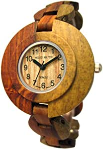 Tense Women's Two Tone Solid Inlaid Sandalwood Round Hypo-Allergenic Wood Watch L8205I