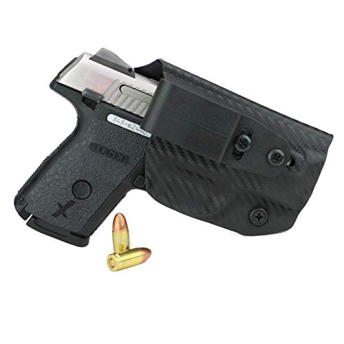 FoxX Holsters Deluxe Trapp Kydex IWB Holster - Ruger SR 9c & 40c Our Smallest Inside Waistband Holster Adjustable Cant & Retention, Conceal Carry (Carbon Fiber Black)