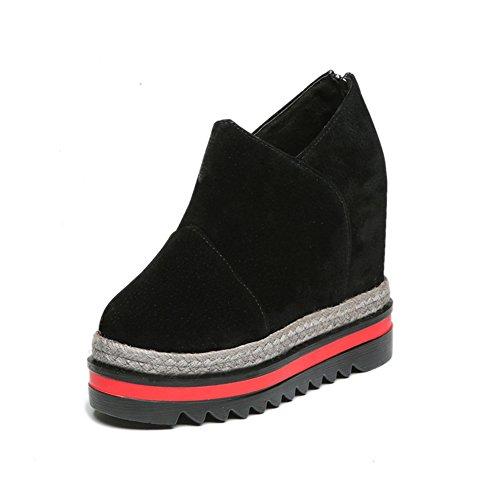 CYBLING Hidden High Heel Platform Wedge Sneaker For Women Casual High Top Loafers Shoes Black PZT2v