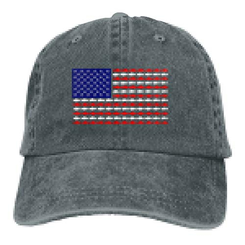 DANDAN SHOP This Funny Card Turns The American Flag Fashion Print Denim Cotton Adjustable Hat