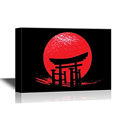 Japanese Culture Canvas Wall Art - Torii The Traditional Japanese Gate - Gallery Wrap Modern Home Art | Ready to Hang - 12x18 inches