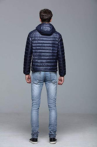 Down Hooded Coat Outerwear Winter Down Mens Dunkelblau Sleeve Down Lightweight Jacket Long Autumn Fit Quilted Fashion Men's Jacket Young Slim Jacket Winter Uf64nqqzx