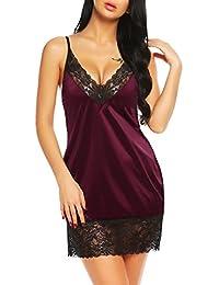 Avidlove Women's Satin Slip Dress Lace Nightgown Sleepwear with Adjustable Strap